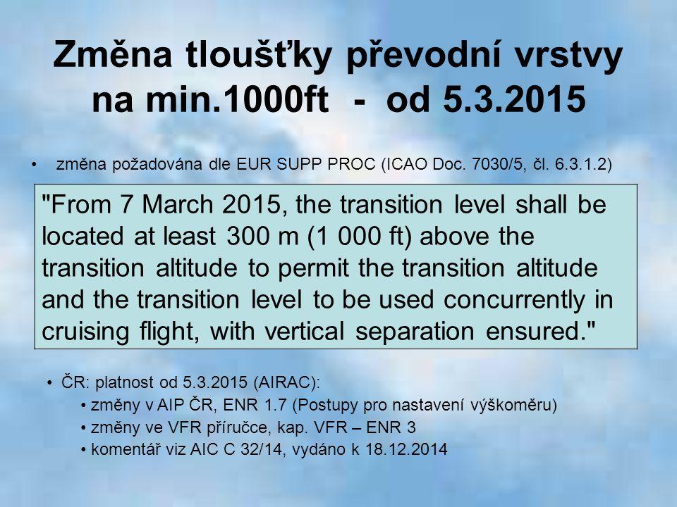 Změna tloušťky převodní vrstvy na min.1000ft - od 5.3.2015 ČR: platnost od 5.3.2015 (AIRAC): změny v AIP ČR, ENR 1.7 (Postupy pro nastavení výškoměru)
