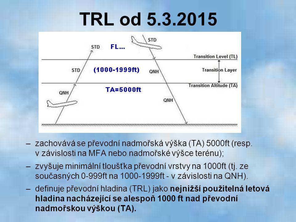 TRL od 5.3.2015 –zachovává se převodní nadmořská výška (TA) 5000ft (resp. v závislosti na MFA nebo nadmořské výšce terénu); –zvyšuje minimální tloušťk