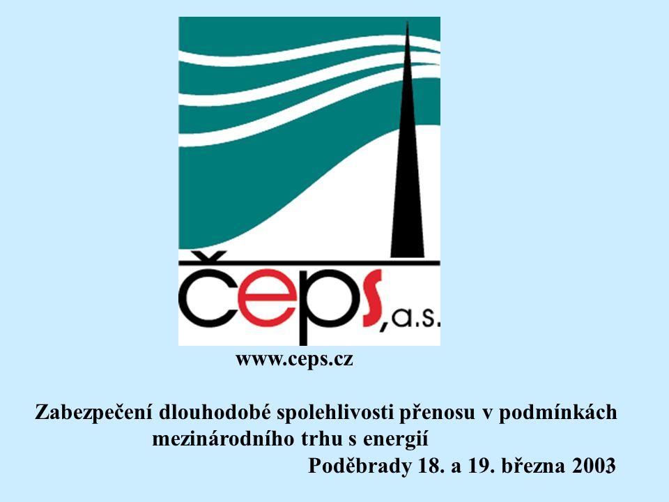 1 www.ceps.cz Zabezpečení dlouhodobé spolehlivosti přenosu v podmínkách mezinárodního trhu s energií Poděbrady 18. a 19. března 2003