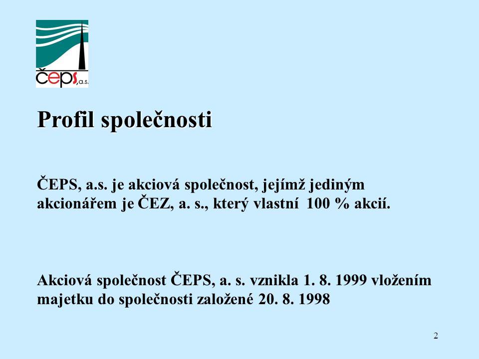 2 Profil společnosti ČEPS, a.s. je akciová společnost, jejímž jediným akcionářem je ČEZ, a. s., který vlastní 100 % akcií. Akciová společnost ČEPS, a.