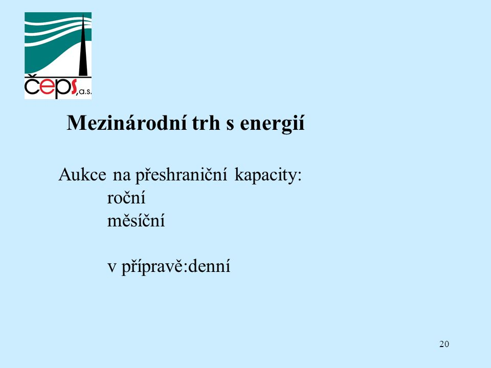 20 Mezinárodní trh s energií Aukce na přeshraniční kapacity: roční měsíční v přípravě:denní
