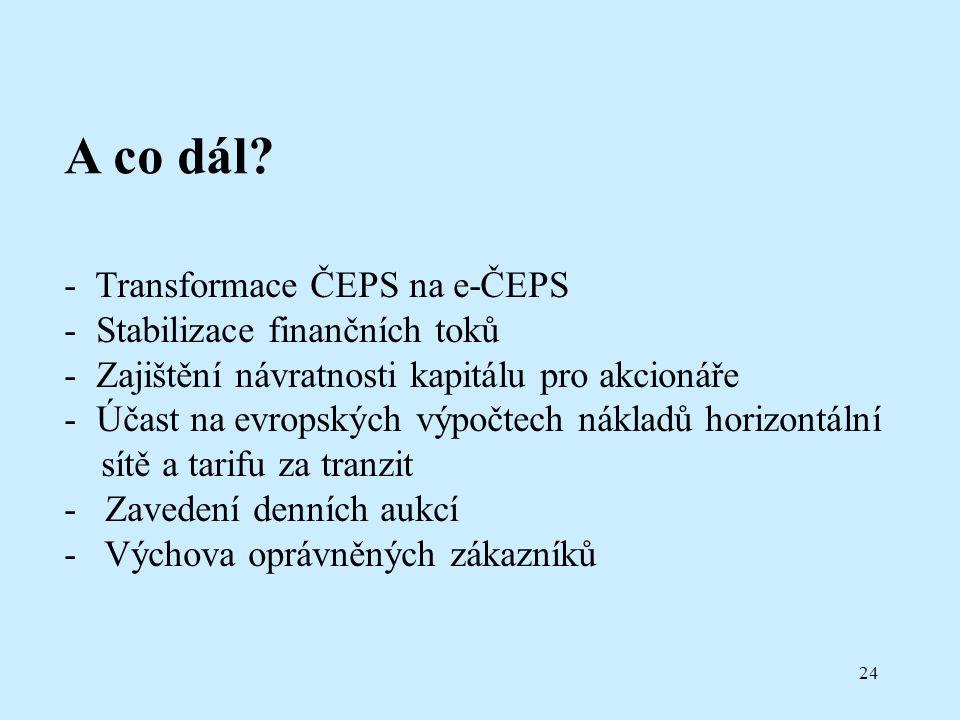 24 A co dál? - Transformace ČEPS na e-ČEPS - Stabilizace finančních toků - Zajištění návratnosti kapitálu pro akcionáře - Účast na evropských výpočtec