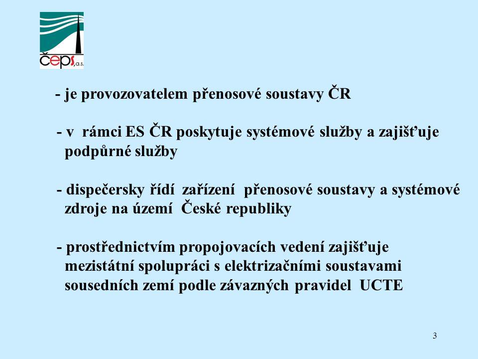 3 - je provozovatelem přenosové soustavy ČR - v rámci ES ČR poskytuje systémové služby a zajišťuje podpůrné služby - dispečersky řídí zařízení přenosové soustavy a systémové zdroje na území České republiky - prostřednictvím propojovacích vedení zajišťuje mezistátní spolupráci s elektrizačními soustavami sousedních zemí podle závazných pravidel UCTE