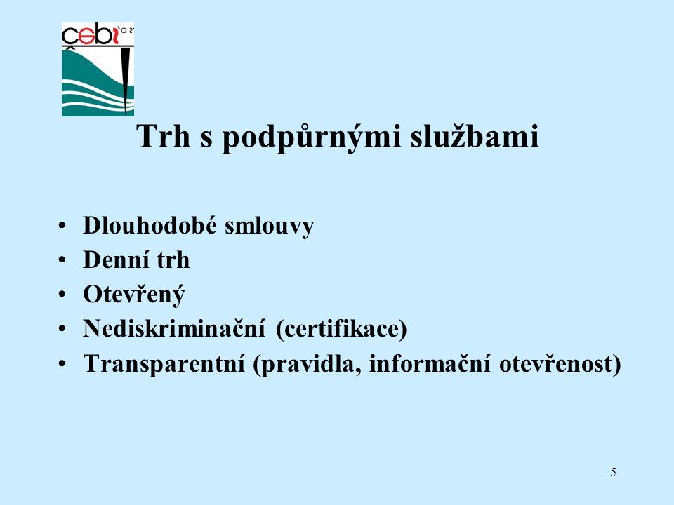 5 Trh s podpůrnými službami Dlouhodobé smlouvy Denní trh Otevřený Nediskriminační (certifikace) Transparentní (pravidla, informační otevřenost)