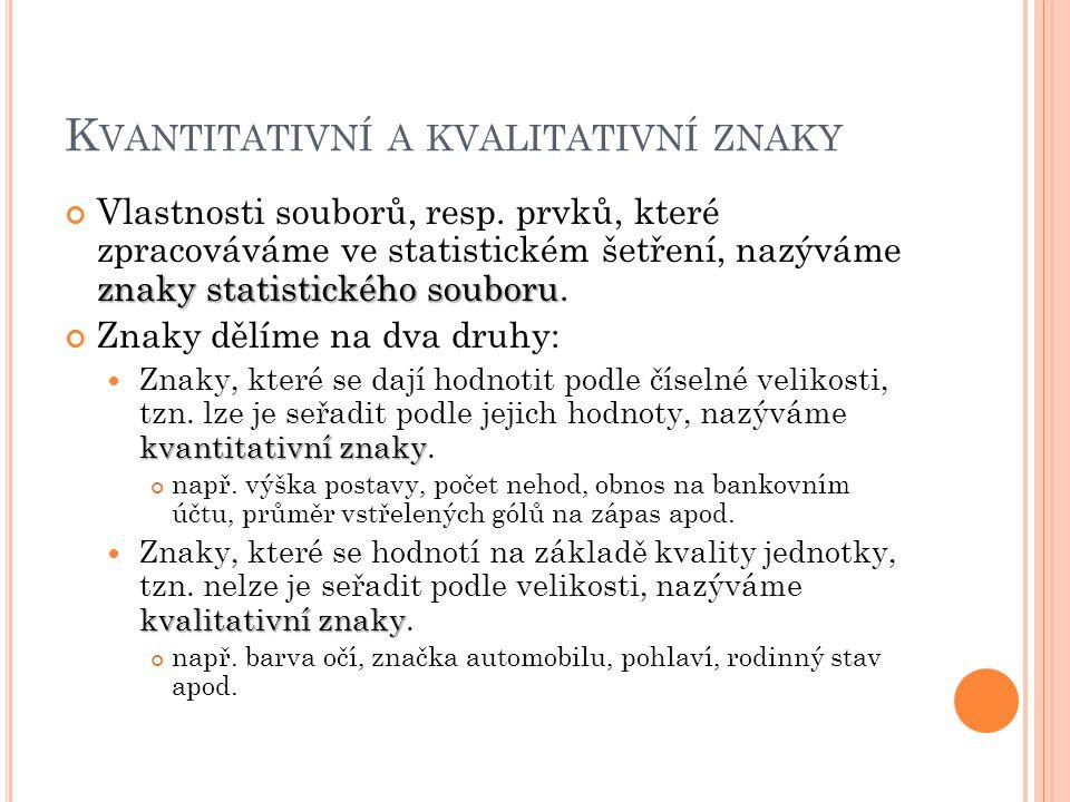 K VANTITATIVNÍ A KVALITATIVNÍ ZNAKY znaky statistického souboru Vlastnosti souborů, resp.