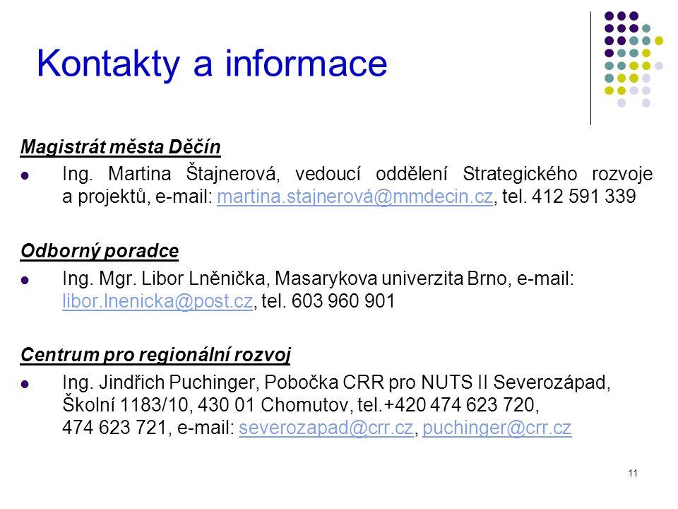 11 Kontakty a informace Magistrát města Děčín Ing.