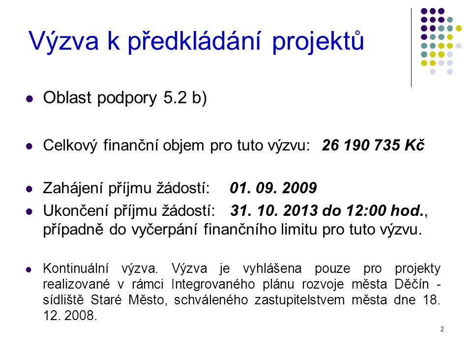 2 Výzva k předkládání projektů Oblast podpory 5.2 b) Celkový finanční objem pro tuto výzvu: 26 190 735 Kč Zahájení příjmu žádostí: 01.
