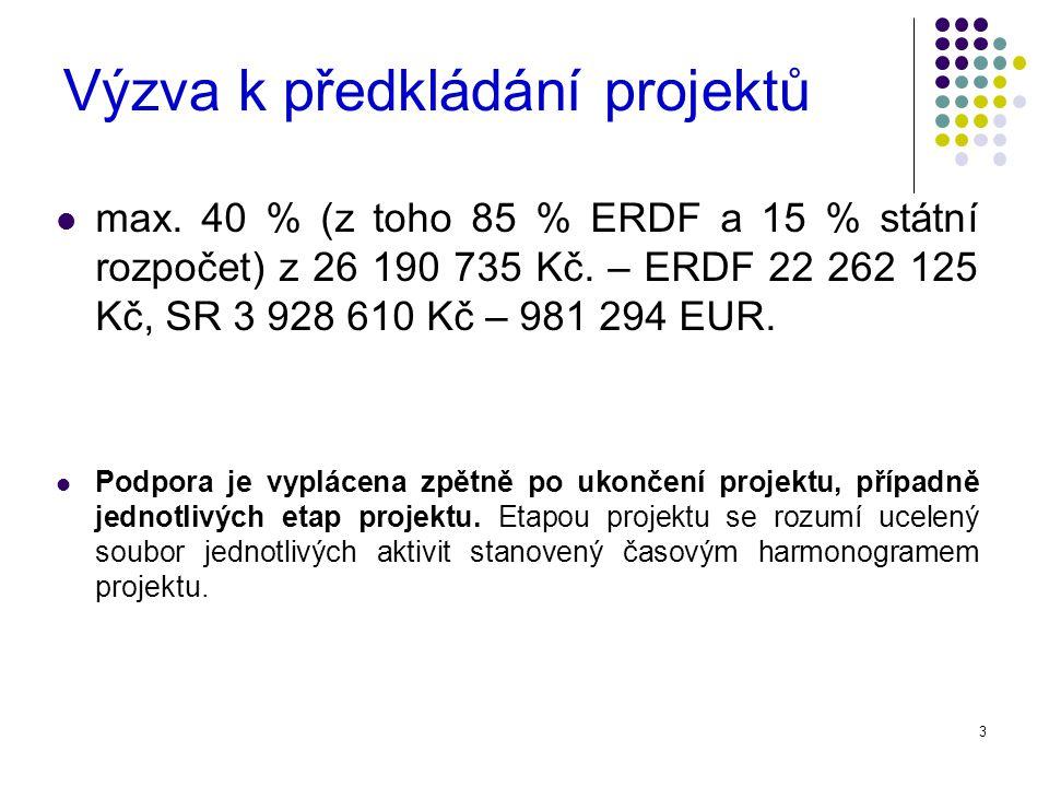 3 Výzva k předkládání projektů max. 40 % (z toho 85 % ERDF a 15 % státní rozpočet) z 26 190 735 Kč.
