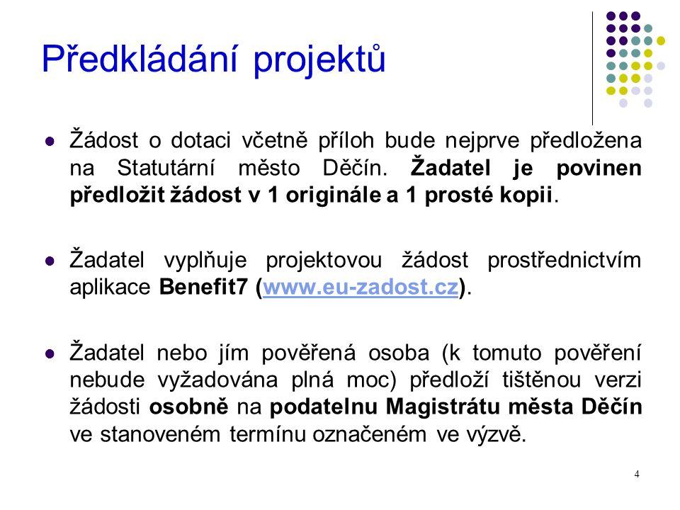 4 Předkládání projektů Žádost o dotaci včetně příloh bude nejprve předložena na Statutární město Děčín.