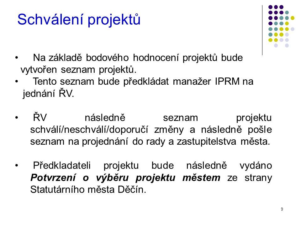 9 Na základě bodového hodnocení projektů bude vytvořen seznam projektů.