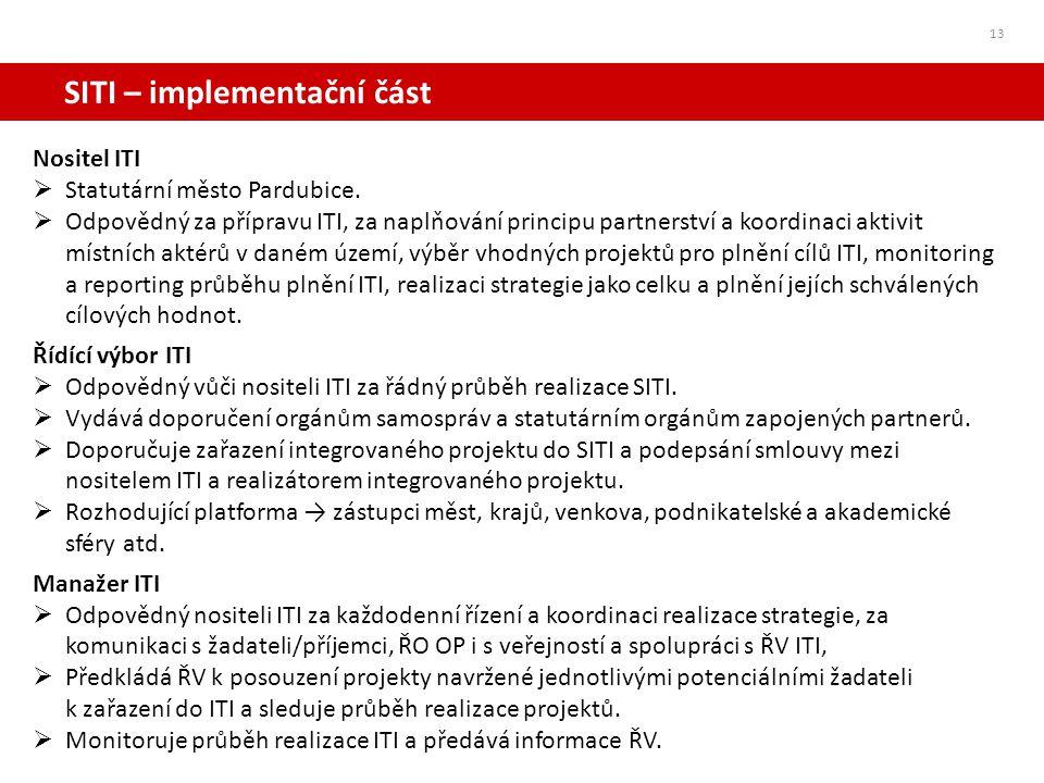 SITI – implementační část Nositel ITI  Statutární město Pardubice.  Odpovědný za přípravu ITI, za naplňování principu partnerství a koordinaci aktiv