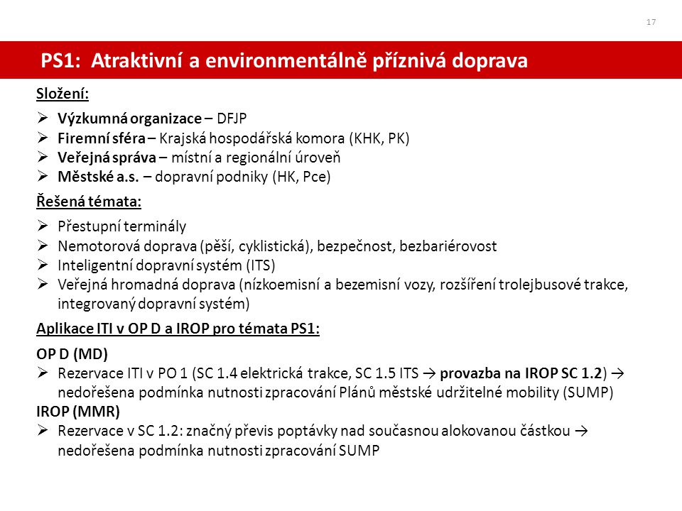 PS1: Atraktivní a environmentálně příznivá doprava 17 Složení:  Výzkumná organizace – DFJP  Firemní sféra – Krajská hospodářská komora (KHK, PK)  V