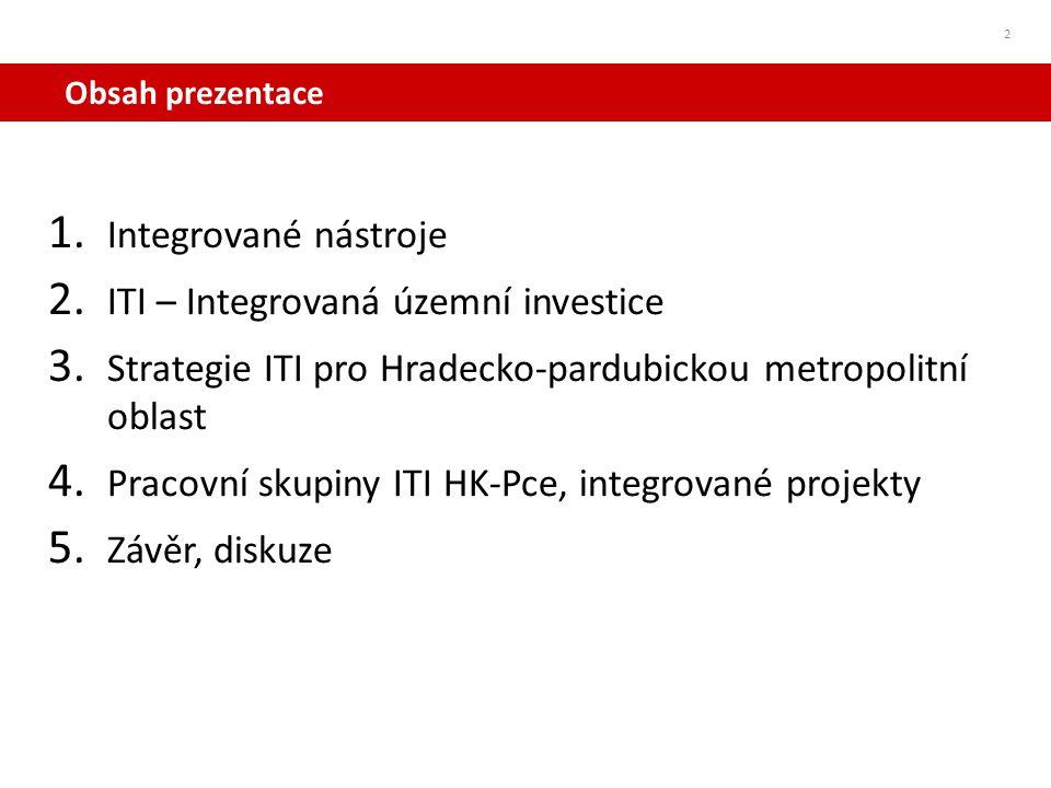 Obsah prezentace 2 1. Integrované nástroje 2. ITI – Integrovaná územní investice 3. Strategie ITI pro Hradecko-pardubickou metropolitní oblast 4. Prac