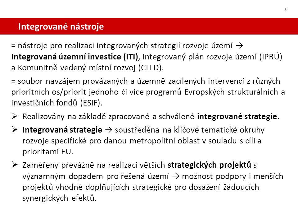 ITI – Integrovaná územní investice 4 = nástroj pro realizaci integrovaných strategií rozvoje území umožňující koordinaci navzájem provázaných a územně zacílených intervencí z různých prioritních os jednoho či více programů ESIF = NOVÝ přístup k územnímu (urbánnímu) rozvoji - investice na základě komplexní strategie rozvoje širšího území aglomerace měst(a).