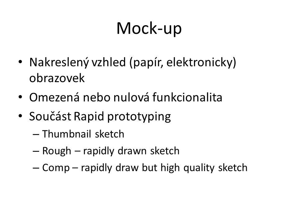 Mock-up Nakreslený vzhled (papír, elektronicky) obrazovek Omezená nebo nulová funkcionalita Součást Rapid prototyping – Thumbnail sketch – Rough – rapidly drawn sketch – Comp – rapidly draw but high quality sketch