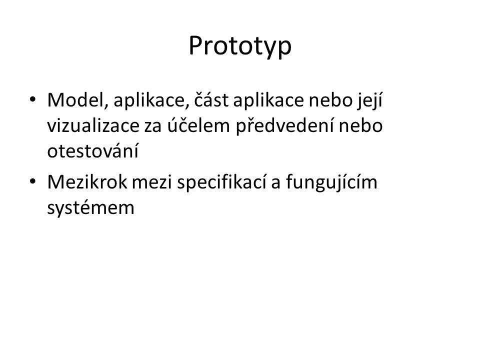 Prototyp Model, aplikace, část aplikace nebo její vizualizace za účelem předvedení nebo otestování Mezikrok mezi specifikací a fungujícím systémem