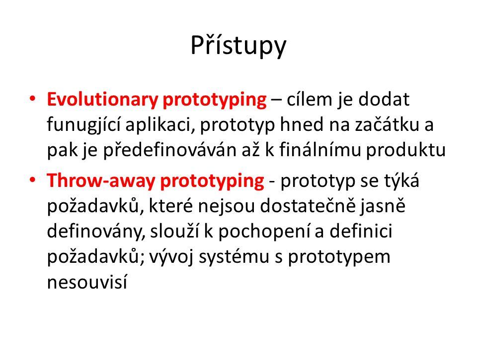 Přístupy Evolutionary prototyping – cílem je dodat funugjící aplikaci, prototyp hned na začátku a pak je předefinováván až k finálnímu produktu Throw-away prototyping - prototyp se týká požadavků, které nejsou dostatečně jasně definovány, slouží k pochopení a definici požadavků; vývoj systému s prototypem nesouvisí