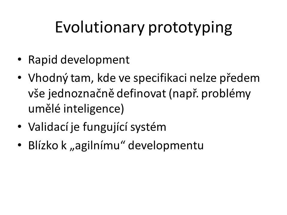 Evolutionary prototyping Rapid development Vhodný tam, kde ve specifikaci nelze předem vše jednoznačně definovat (např.