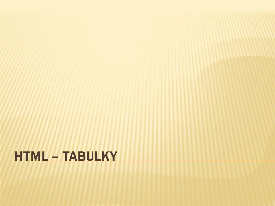 HTML – TABULKY