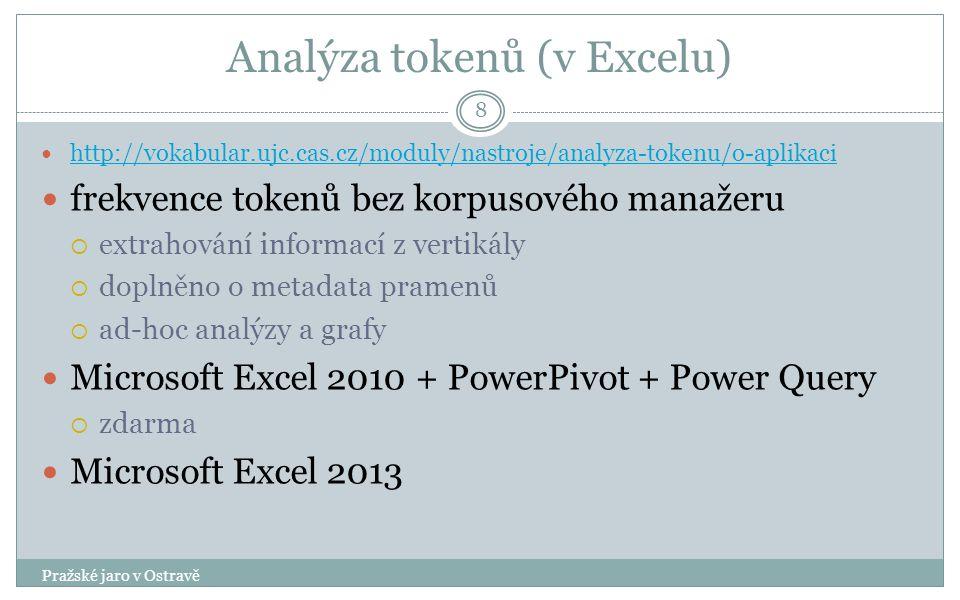 Analýza tokenů (v Excelu) Pražské jaro v Ostravě 8 http://vokabular.ujc.cas.cz/moduly/nastroje/analyza-tokenu/o-aplikaci frekvence tokenů bez korpusového manažeru  extrahování informací z vertikály  doplněno o metadata pramenů  ad-hoc analýzy a grafy Microsoft Excel 2010 + PowerPivot + Power Query  zdarma Microsoft Excel 2013