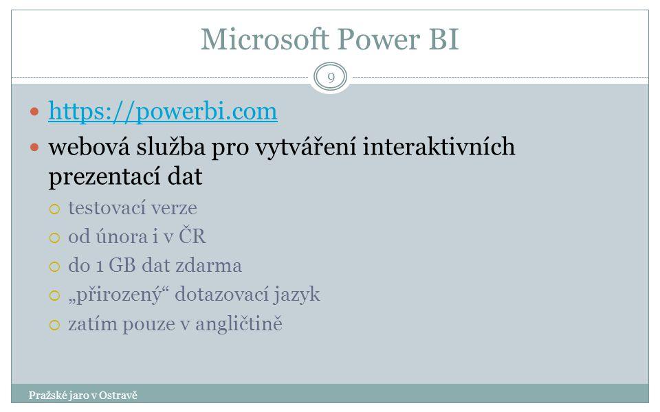 """Microsoft Power BI Pražské jaro v Ostravě 9 https://powerbi.com webová služba pro vytváření interaktivních prezentací dat  testovací verze  od února i v ČR  do 1 GB dat zdarma  """"přirozený dotazovací jazyk  zatím pouze v angličtině"""