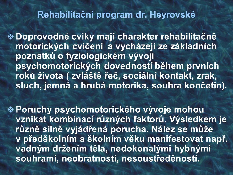 Rehabilitační program dr. Heyrovské  Doprovodné cviky mají charakter rehabilitačně motorických cvičení a vycházejí ze základních poznatků o fyziologi