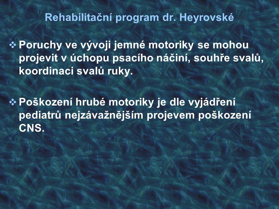 Rehabilitační program dr. Heyrovské  Poruchy ve vývoji jemné motoriky se mohou projevit v úchopu psacího náčiní, souhře svalů, koordinaci svalů ruky.
