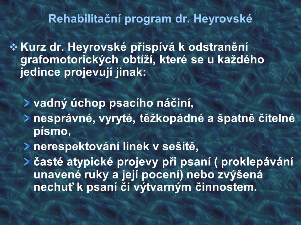 Rehabilitační program dr. Heyrovské  Kurz dr. Heyrovské přispívá k odstranění grafomotorických obtíží, které se u každého jedince projevují jinak: va