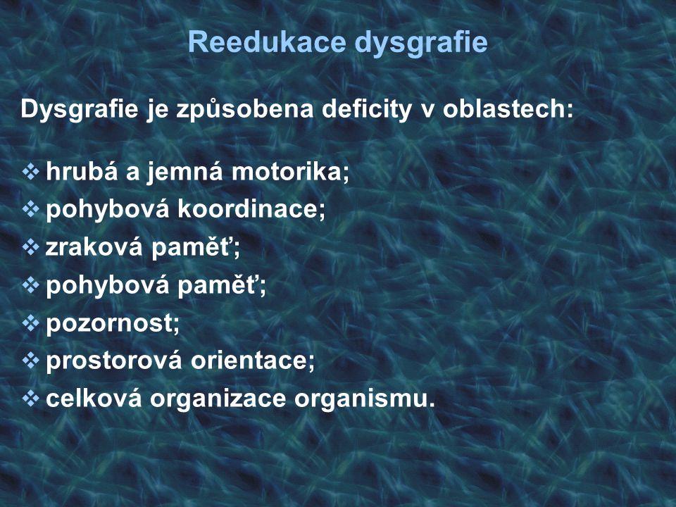 Dysgrafie je způsobena deficity v oblastech:  hrubá a jemná motorika;  pohybová koordinace;  zraková paměť;  pohybová paměť;  pozornost;  prosto