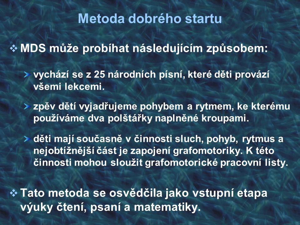 Metoda dobrého startu  MDS může probíhat následujícím způsobem: vychází se z 25 národních písní, které děti provází všemi lekcemi. zpěv dětí vyjadřuj