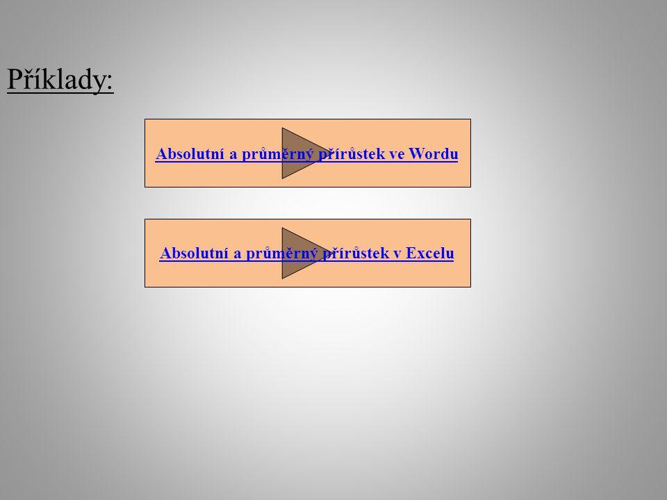 Příklady: Absolutní a průměrný přírůstek ve Wordu Absolutní a průměrný přírůstek v Excelu