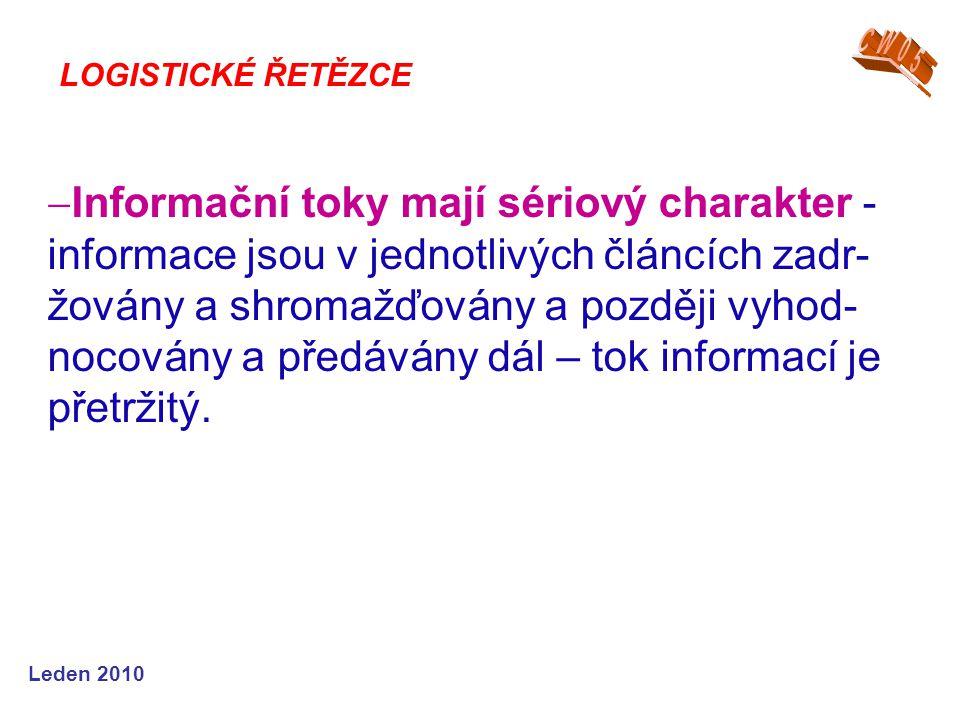 Leden 2010  Informační toky mají sériový charakter - informace jsou v jednotlivých článcích zadr- žovány a shromažďovány a později vyhod- nocovány a