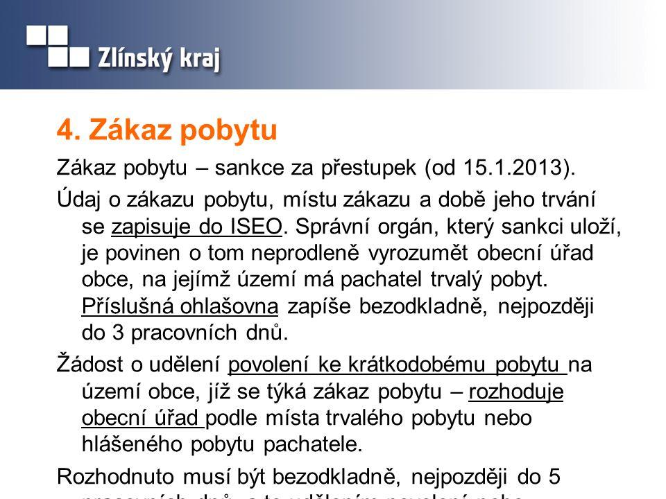 4. Zákaz pobytu Zákaz pobytu – sankce za přestupek (od 15.1.2013).
