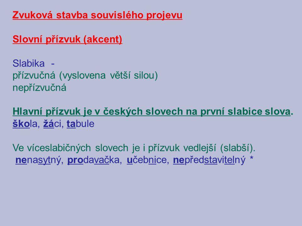 Zvuková stavba souvislého projevu Slovní přízvuk (akcent) Slabika - přízvučná (vyslovena větší silou) nepřízvučná Hlavní přízvuk je v českých slovech na první slabice slova.