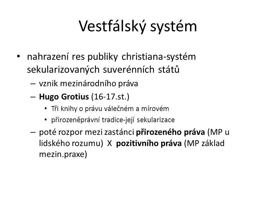 Vestfálský systém nahrazení res publiky christiana-systém sekularizovaných suverénních států – vznik mezinárodního práva – Hugo Grotius (16-17.st.) Tř