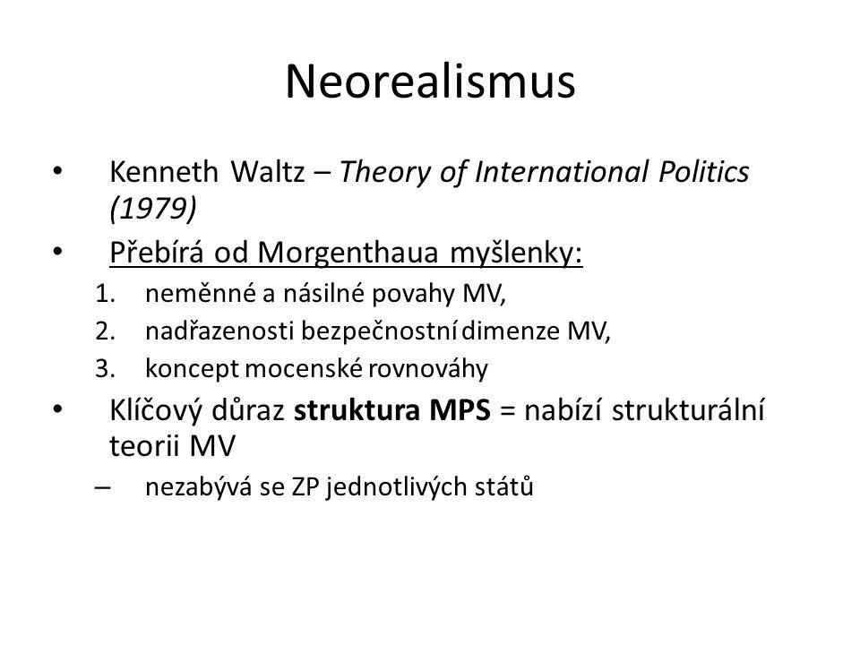 Neorealismus Kenneth Waltz – Theory of International Politics (1979) Přebírá od Morgenthaua myšlenky: 1.neměnné a násilné povahy MV, 2.nadřazenosti be