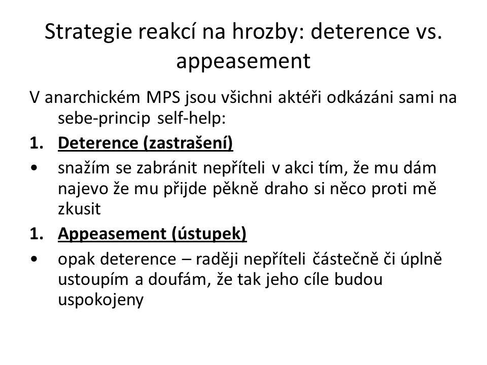Strategie reakcí na hrozby: deterence vs. appeasement V anarchickém MPS jsou všichni aktéři odkázáni sami na sebe-princip self-help: 1.Deterence (zast