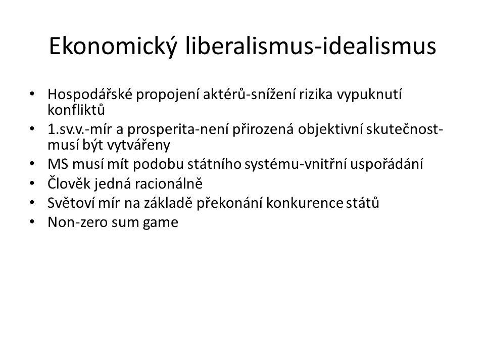 Ekonomický liberalismus-idealismus Hospodářské propojení aktérů-snížení rizika vypuknutí konfliktů 1.sv.v.-mír a prosperita-není přirozená objektivní