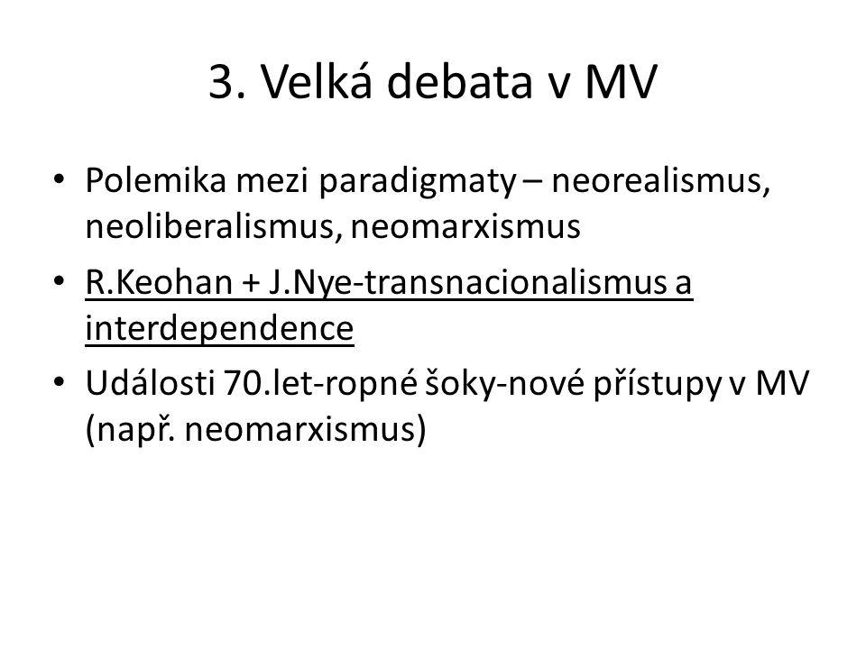 3. Velká debata v MV Polemika mezi paradigmaty – neorealismus, neoliberalismus, neomarxismus R.Keohan + J.Nye-transnacionalismus a interdependence Udá