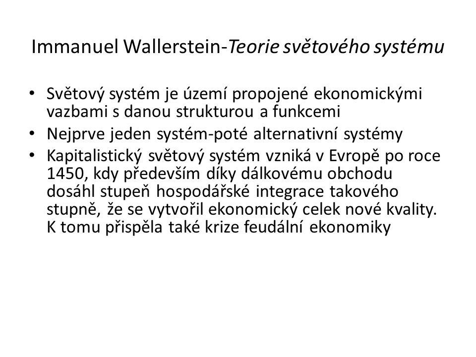 Immanuel Wallerstein-Teorie světového systému Světový systém je území propojené ekonomickými vazbami s danou strukturou a funkcemi Nejprve jeden systé