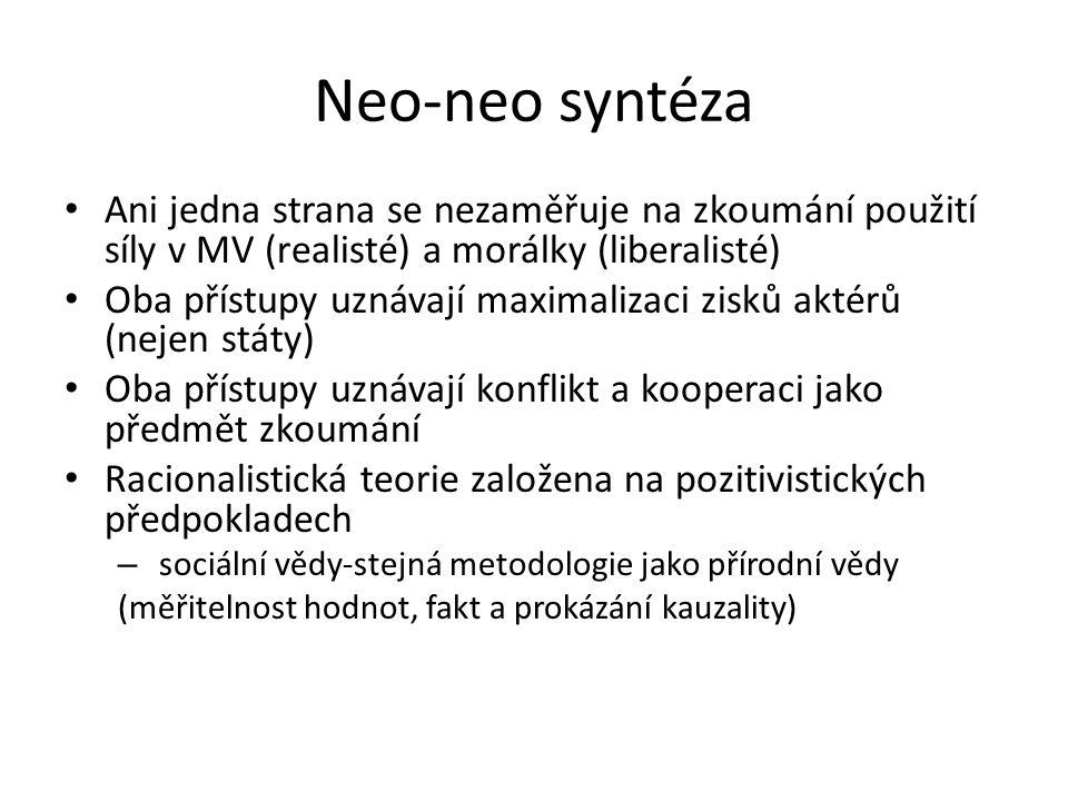 Neo-neo syntéza Ani jedna strana se nezaměřuje na zkoumání použití síly v MV (realisté) a morálky (liberalisté) Oba přístupy uznávají maximalizaci zis