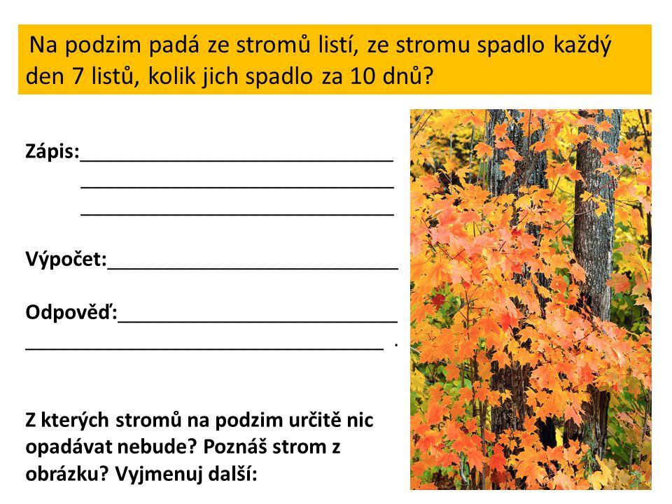Na podzim padá ze stromů listí, ze stromu spadlo každý den 7 listů, kolik jich spadlo za 10 dnů? Zápis:____________________________ __________________