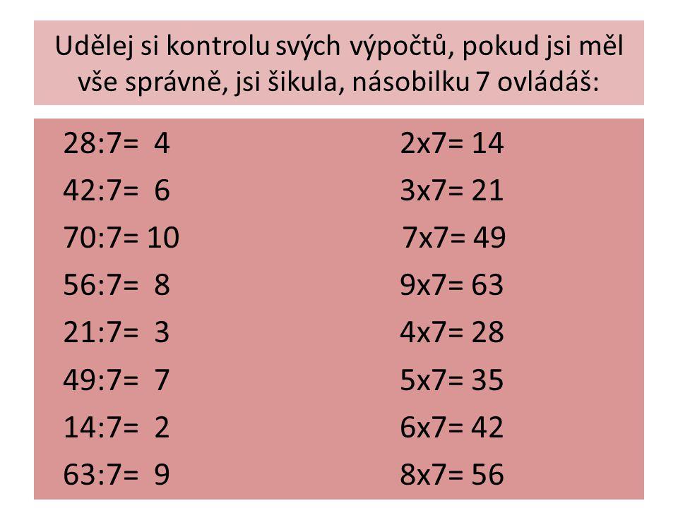 Udělej si kontrolu svých výpočtů, pokud jsi měl vše správně, jsi šikula, násobilku 7 ovládáš: 28:7= 4 2x7= 14 42:7= 6 3x7= 21 70:7= 10 7x7= 49 56:7= 8 9x7= 63 21:7= 3 4x7= 28 49:7= 7 5x7= 35 14:7= 2 6x7= 42 63:7= 9 8x7= 56