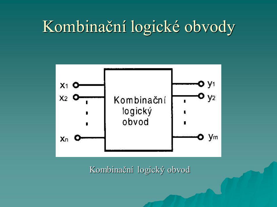 Kombinační logické obvody  Kombinační obvody považujeme za funkční celky, které se realizují buď spojením základních logických členů nebo pomocí integrovaných obvodů se střední hustotou integrace.
