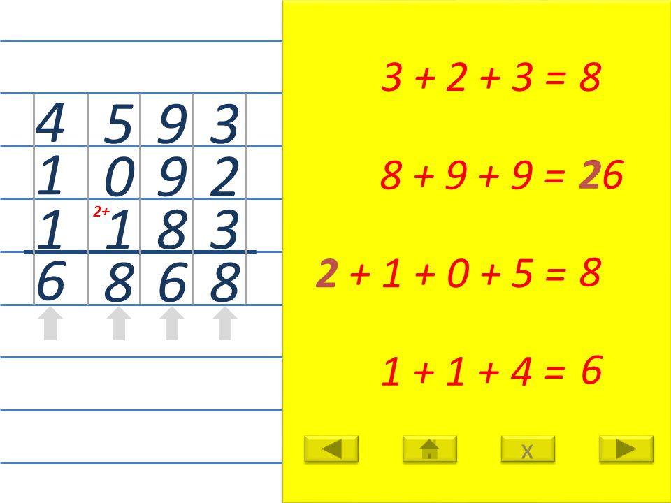 3 2 3 8 3 + 2 + 3 =8 9 9 8 6 8 + 9 + 9 = 26 5 0 1 8 2 + 1 + 0 + 5 = 8 4 1 1 6 1 + 1 + 4 = 6 x x