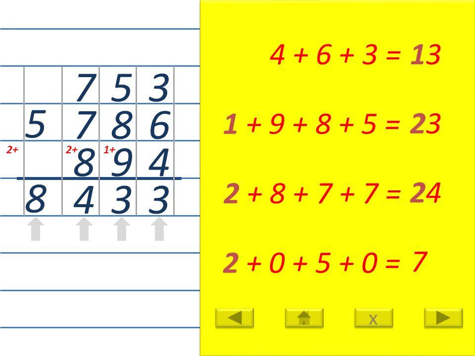 3 6 4 3 4 + 6 + 3 =13 1+ 5 8 9 3 1 + 9 + 8 + 5 = 23 2+ 7 7 8 4 2 + 8 + 7 + 7 = 24 5 8 2 + 0 + 5 + 0 = 7 x x