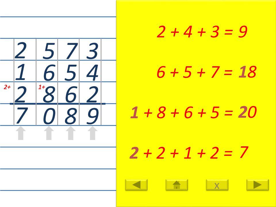 3 4 2 9 2 + 4 + 3 =9 7 5 6 8 6 + 5 + 7 = 18 1+ 5 6 8 0 1 + 8 + 6 + 5 = 20 2+ 2 1 2 7 2 + 2 + 1 + 2 = 7 x x
