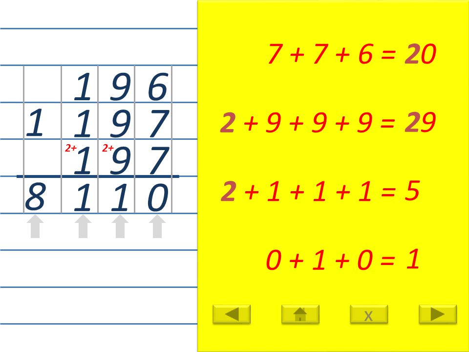 6 7 7 0 7 + 7 + 6 =20 9 9 9 1 2 + 9 + 9 + 9 = 29 1 1 1 1 2 + 1 + 1 + 1 = 5 1 8 0 + 1 + 0 = 1 x x