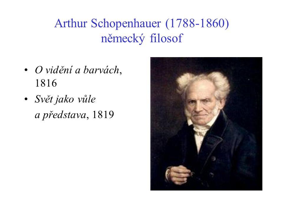 Arthur Schopenhauer (1788-1860) německý filosof O vidění a barvách, 1816 Svět jako vůle a představa, 1819