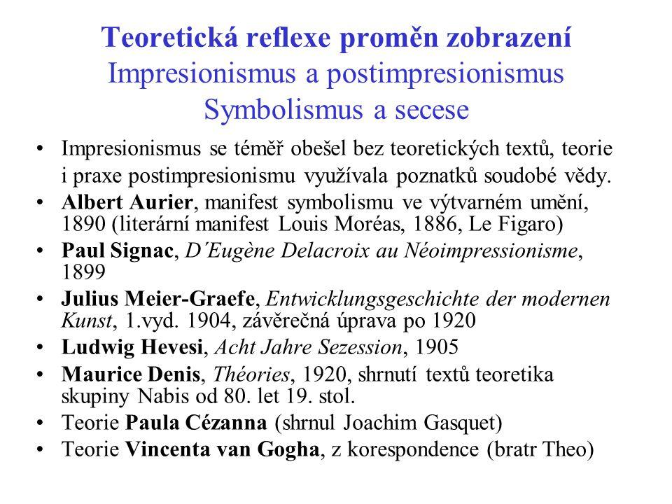 Teoretická reflexe proměn zobrazení Impresionismus a postimpresionismus Symbolismus a secese Impresionismus se téměř obešel bez teoretických textů, te